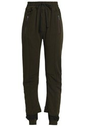 Haider Ackermann Frayed Cotton Jersey Track Pants Army Green