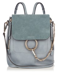 Chloe Faye Medium Suede And Leather Backpack Light Blue