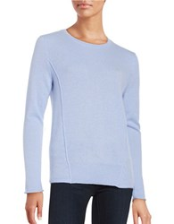 Lord And Taylor Seam Accented Cashmere Pullover Sweater Blue Orbit