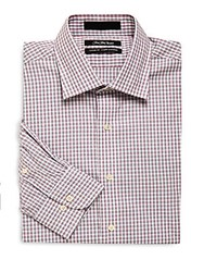 Saks Fifth Avenue Black Check Classic Fit Dress Shirt Navy Red