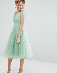 Chi Chi London Tulle Midi Dress With 3D Embroidery Sage Green