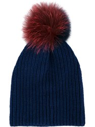 Inverni Two Tone Fur Pom Pom Beanie Blue