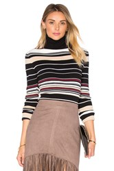 Bishop Young Striped Rib Knit Turtleneck Top Black