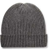 The Elder Statesman Watchman 2 Striped Ribbed Cashmere Beanie Charcoal