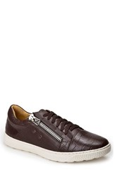 Sandro Moscoloni Men's Cassius Side Zip Sneaker Brown Leather
