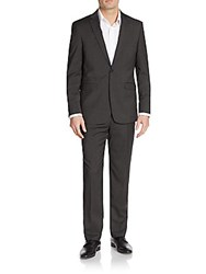 Vince Camuto Slim Fit Tonal Hairline Striped Wool Suit Charcoal