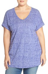Plus Size Women's Sejour Sheer Jersey V Neck Tee Purple Opulence