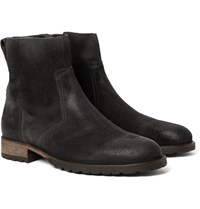 Belstaff Attwell Burnished Suede Boots Charcoal