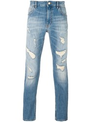 Love Moschino Distressed Slim Jeans Blue