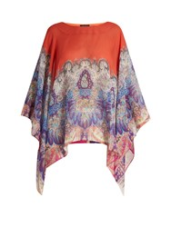 Etro Paisley Print Round Neck Silk Poncho Orange Multi