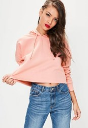 Missguided Pink Cropped Hoodie Blush