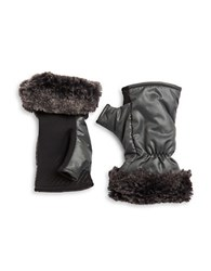 Ur Powered Faux Fur Accented Tech Gloves Grey