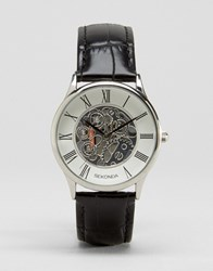 Sekonda Exposed Mechanical Skeleton Leather Watch In Black Exclusive To Asos