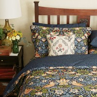 Morris And Co Strawberry Thief Duvet Cover Indigo Super King