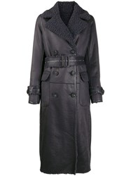 Urbancode Belted Leather Effect Coat Blue