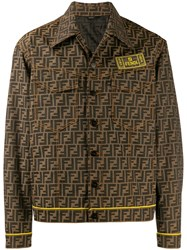 Fendi Logo Pattern Overshirt Jacket Brown