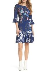 Eliza J Floral Bell Sleeve Dress Navy