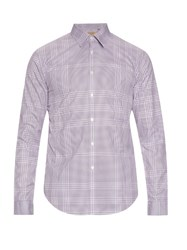 Burberry Melthorpe Checked Cotton Poplin Shirt Burgundy