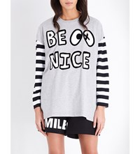 Mini Cream Be Nice Cotton Jersey Top Grey