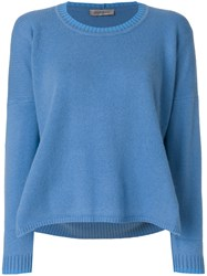 Sportmax Flared Knitted Sweater Polyamide Cashmere Blue