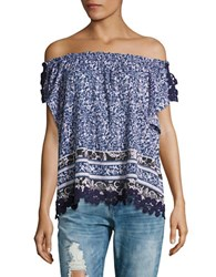 Lord And Taylor Penny Batik Off The Shoulder Top Evening Blue