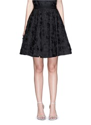 Alice Olivia 'Earla' Floral Embroidery Applique Flare Skirt Black