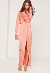 Missguided Satin Plunge Maxi Dress Pink Nude