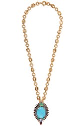 Elizabeth Cole Kyler Gold Tone Stone And Crystal Necklace Turquoise