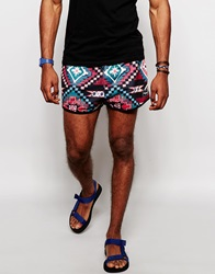Jaded London Festival Shorts In Aztec Print Pink