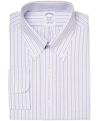 Brooks Brothers Men's Regent Classic Fit Non Iron Purple Striped Dress Shirt