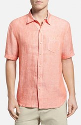 Men's Tommy Bahama 'Party Breezer' Island Modern Fit Short Sleeve Linen Sport Shirt Citrus Sun