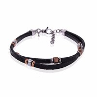 Think Positive By Antonio Marsocci Men's Sterling Silver Twisted Black Leather Insert Silver And Gold Bracelet