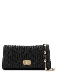 Miu Miu Embellished Matelasse Leather Clutch Black