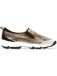 Ermanno Scervino Snakeskin Effect Slip On Sneakers Nude Neutrals