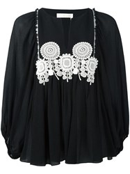 Chloe Embroidered Sunflower Blouse Black