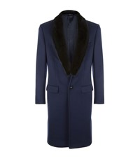 Versace Mink Collar Coat Male Navy