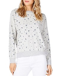 Michael Stars Reversible Floral Print Sweatshirt Heather Gray
