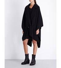 Chalayan Double Breasted Wool Blend Cape Black