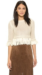For Love And Lemons Knitz Denver Knit Crop Sweater Ivory