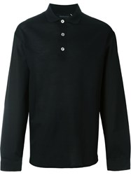 Kris Van Assche Contrast Button Long Sleeve Polo Shirt Black