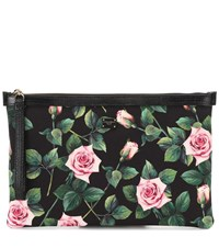 Dolce And Gabbana Floral Canvas Pouch Black