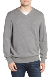 Vineyard Vines Cotton And Cashmere V Neck Sweater Gray Heather