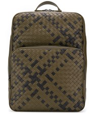 Bottega Veneta Double Brick Intrecciato Backpack Green