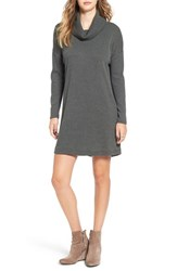 Lush Women's Long Sleeve Cowl Neck Sweater Dress Dark Olive