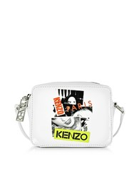 Kenzo Paris White Patent Leather Mini Camera Bag