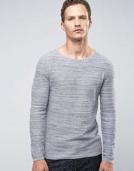 Selected Homme Jumper In Waffle Texture Light Grey