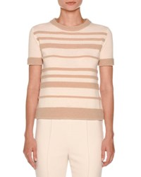 Agnona Short Sleeve Striped Boucle Sweater White Nude
