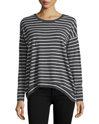 Minnie Rose Long Sleeve Striped Sweater Charcoal Gray Heather Gray