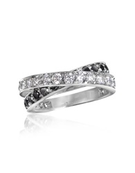 Forzieri Black And White Diamond Crossover 18K Gold Ring
