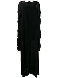 Vera Wang Ruched Sleeve Maxi Dress Black
